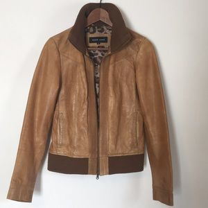 Black Rivet brown leather bomber jacket. Small